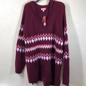 EVRI Sweater w/Hoodie Burgundy Red Wine NWT 3X